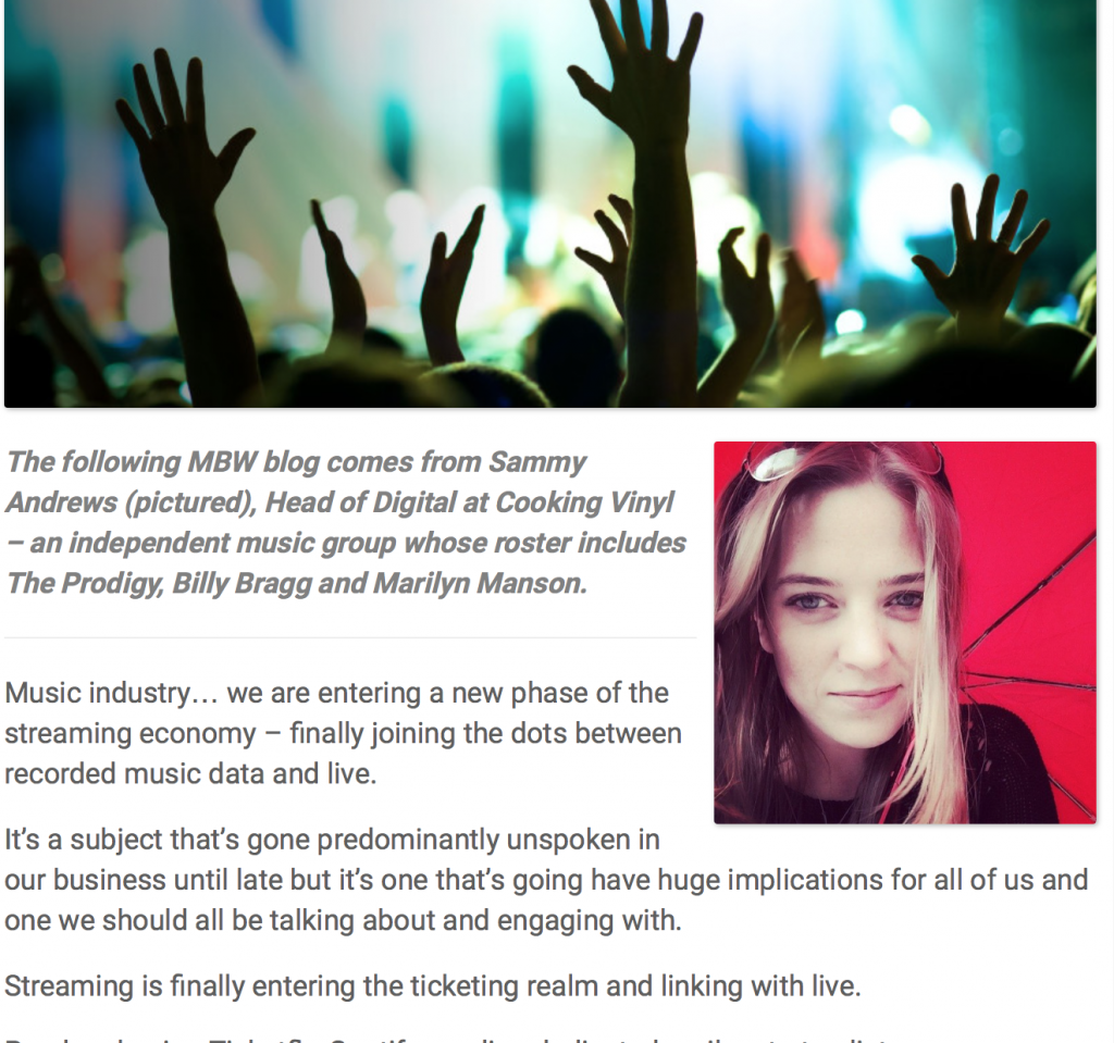 STREAMING + TICKETING + DATA: A NEW FRONTIER FOR THE MUSIC INDUSTRY
